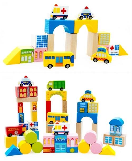 """Эко-набор деревянный пазл-коврик-дорога плюс дома и машины """"The urban traffic blocks""""  """"Город из кубиков"""" 62 детали - 5"""