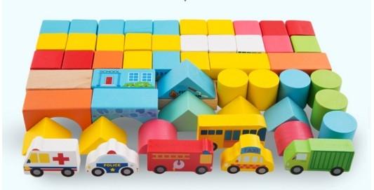 """Эко-набор деревянный пазл-коврик-дорога плюс дома и машины """"The urban traffic blocks""""  """"Город из кубиков"""" 62 детали - 12"""