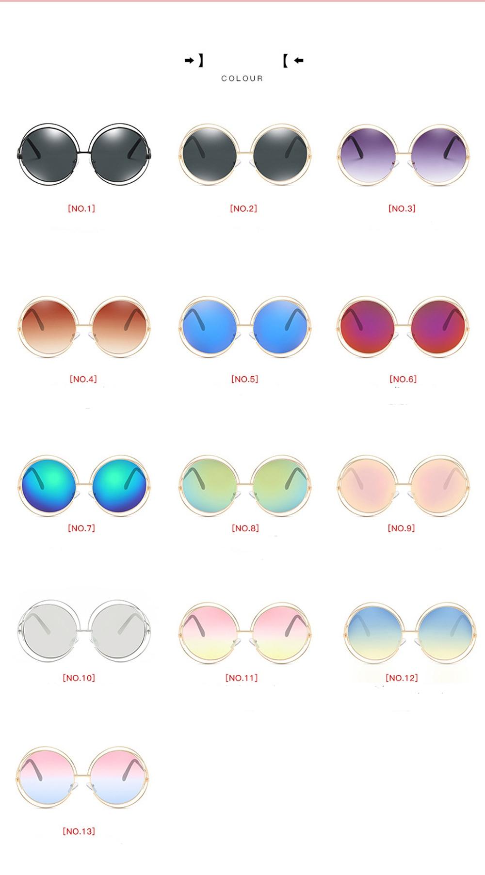 Крупные круглые солнцезащитные очки с тонкой обмоткой вокруг линз - 15