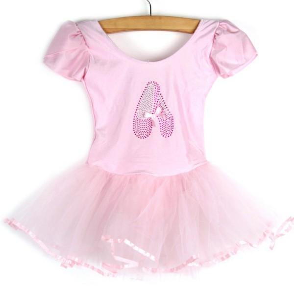 Детский купальник на короткий рукав с балетной юбкой для танцев и гимнастики - 3