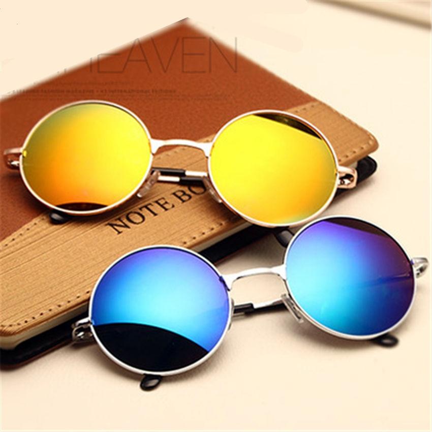 fefd6474e5f0 Круглые очки от солнца с тонкой металлической оправой (в наличии зеркальные  радужные, голубые и