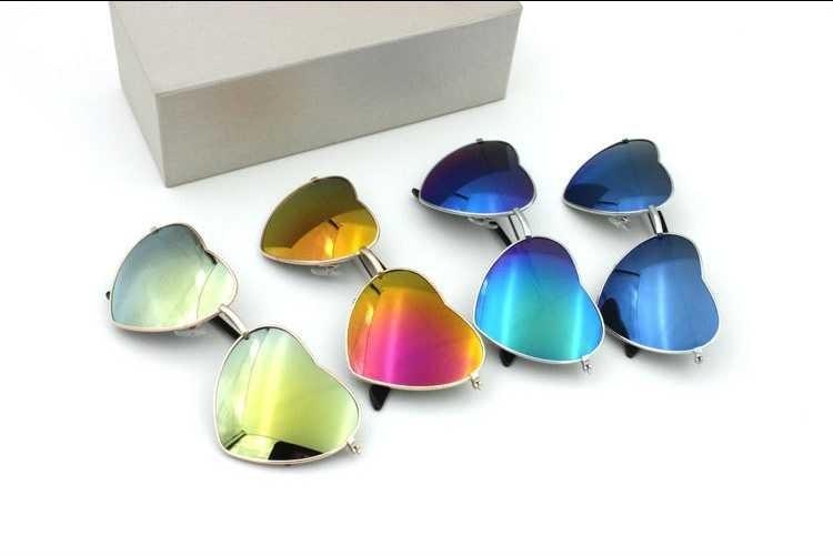 Солнцезащитные очки-сердечки с тонкой металлической оправой (в наличии голубые с легким градиентным переходом) - 8