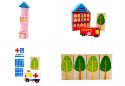 """Эко-набор деревянный пазл-коврик-дорога плюс дома и машины """"The urban traffic blocks""""  """"Город из кубиков"""" 62 детали - 8"""