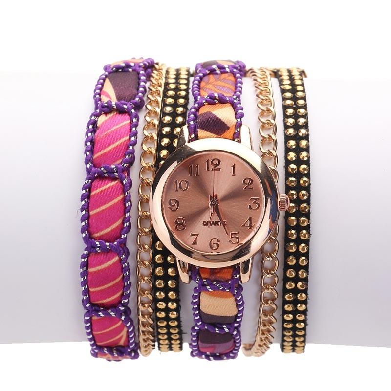Часы-браслет женские наручные с лентой и цепочкой (в наличии черные) - 4