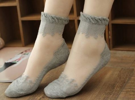 Носки романтичные с оборкой и шелковой вставкой (в наличии черные высокие) - 6