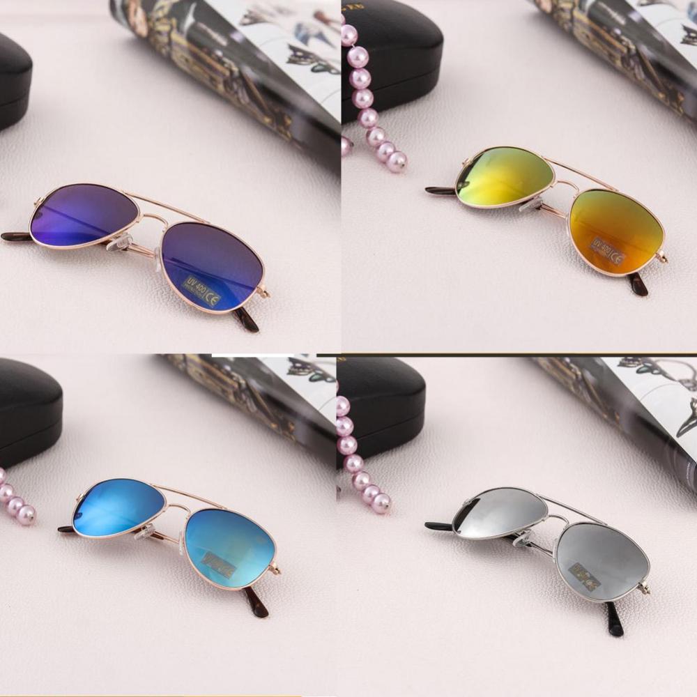 Солнцезащитные детские очки-авиаторы с металлической тонкой оправой и зеркальной или черной линзой (в наличии золотые, серебряные  зеркальные очки) - 1
