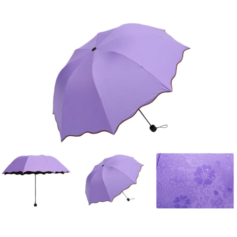 Складной зонт с волнистым краем и проявляющимися от дождя цветами - 7