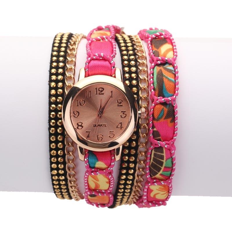 Часы-браслет женские наручные с лентой и цепочкой (в наличии черные) - 5