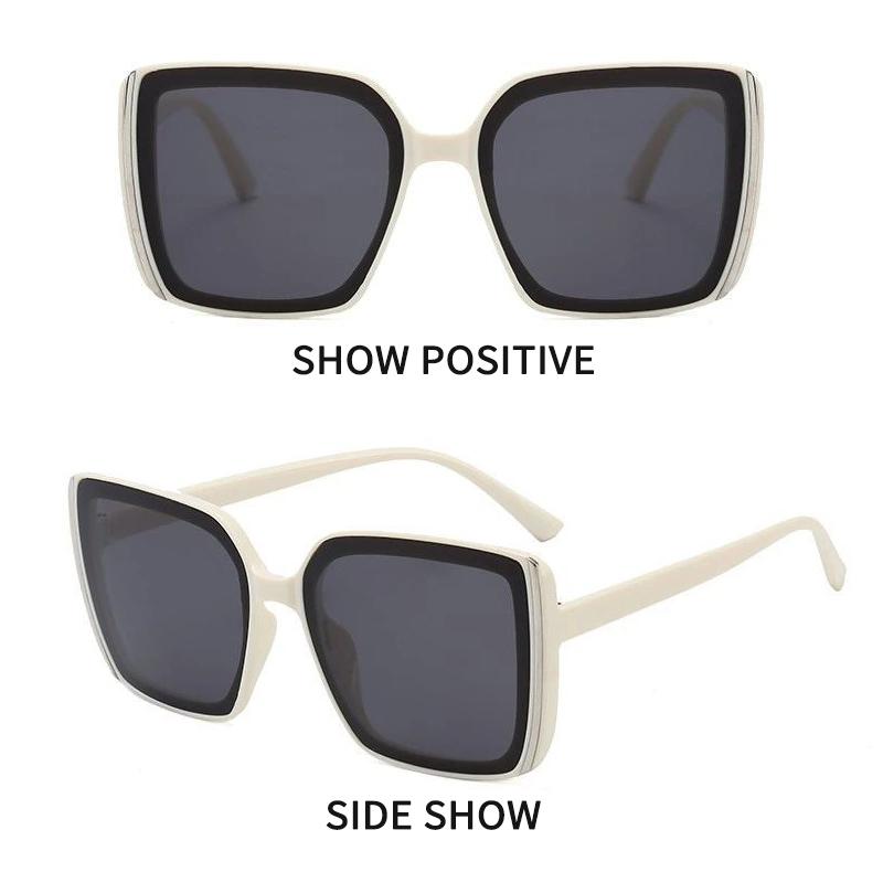Крупные солнцезащитные квадратные очки в натуральных тонах и с дымчатой линзой (в наличии черные с серым градиентом и бежевые с черной линзой) - 2
