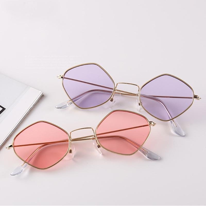 Солнцезащитные очки-ромбы с тонкой металлической оправой (в наличии розовые) - 2