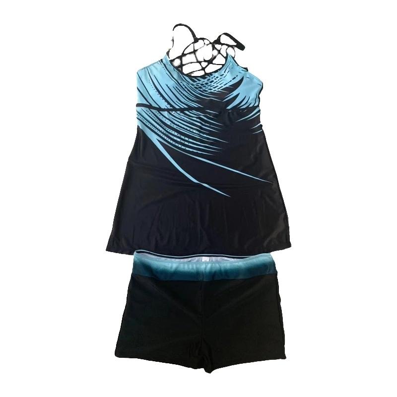 Купальник-танкини с абстрактным узором: майка с открытой спиной и шорты (есть большие размеры) - 1