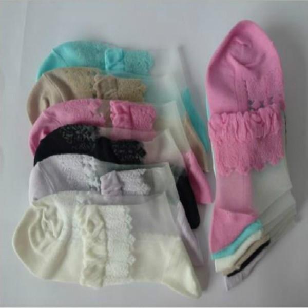 Носки романтичные с оборкой и шелковой вставкой (в наличии черные высокие) - 5