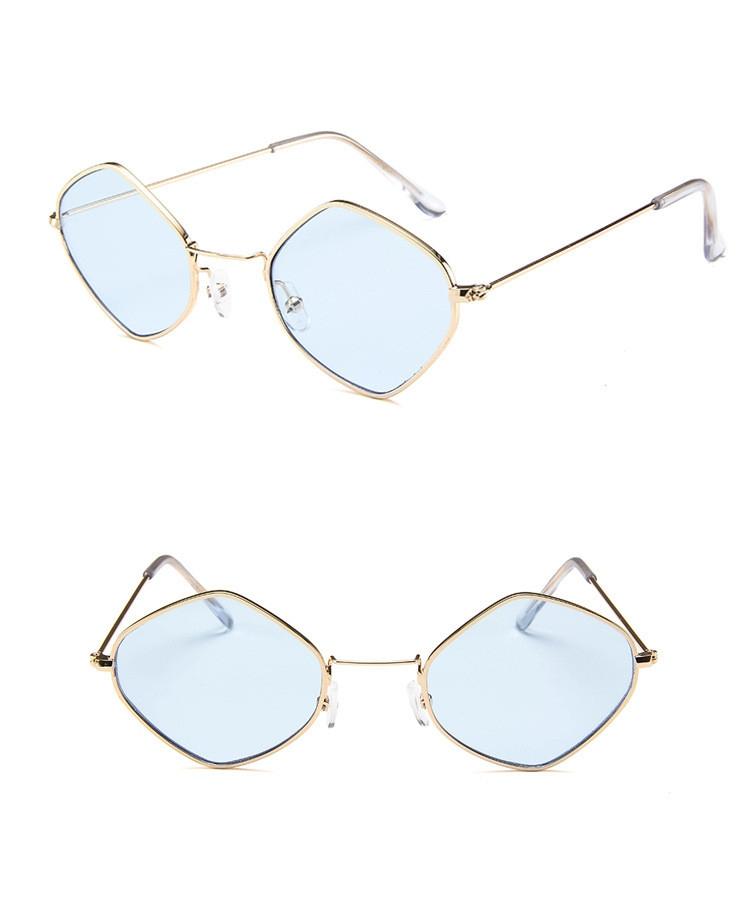 Солнцезащитные очки-ромбы с тонкой металлической оправой (в наличии розовые) - 10