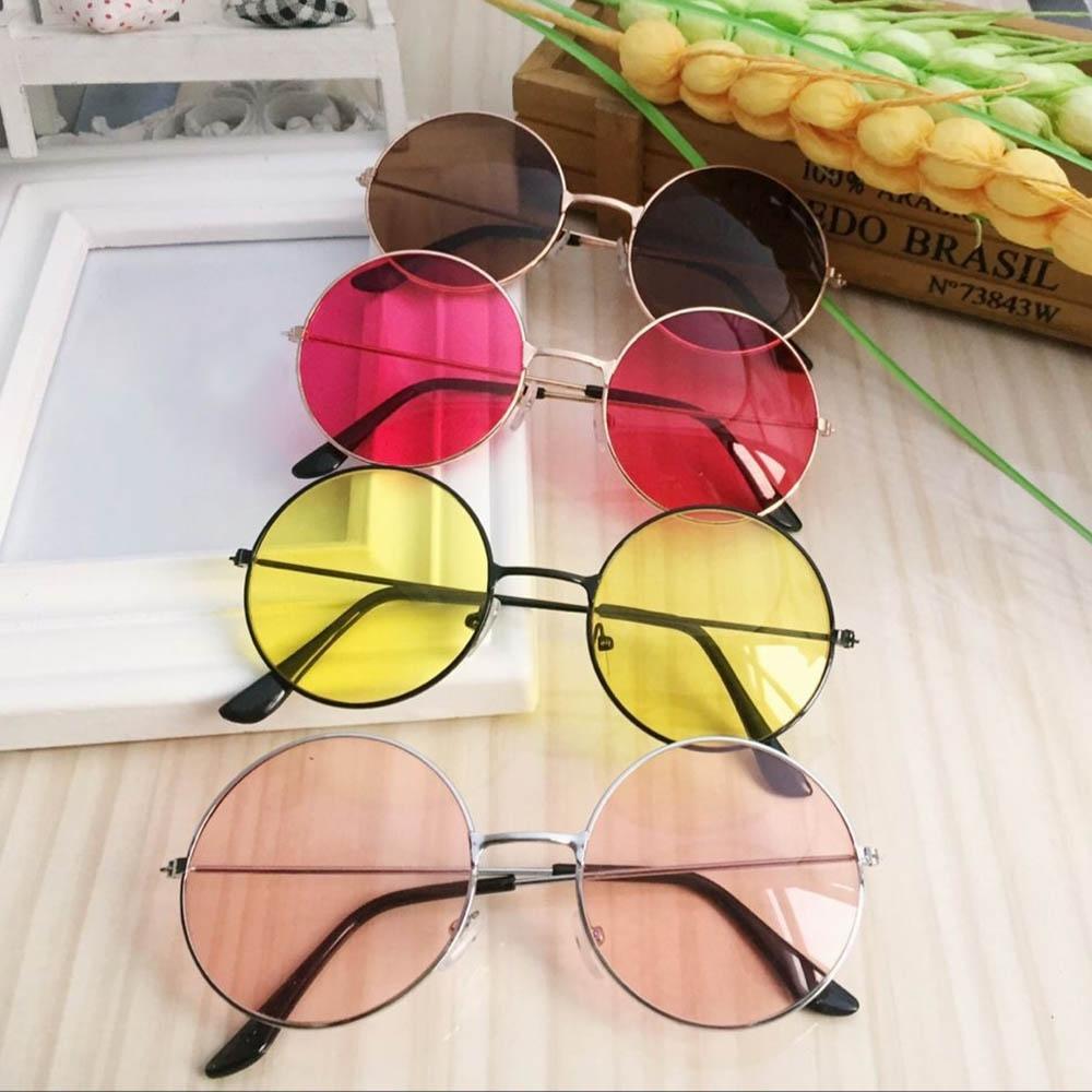 Круглые очки от солнца с металлической оправой и цветной выпуклой линзой (в наличии красные, желтые и черные) - 5