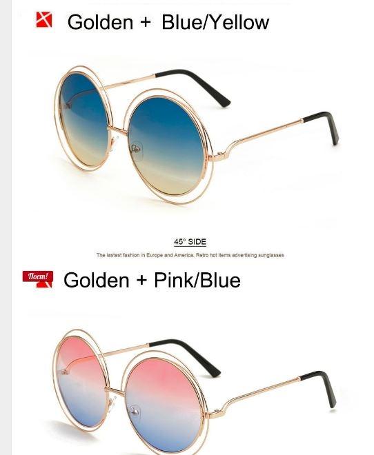 Крупные круглые солнцезащитные очки с тонкой обмоткой вокруг линз - 1