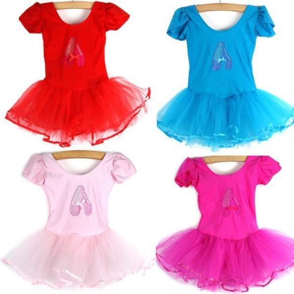 Детский купальник на короткий рукав с балетной юбкой для танцев и гимнастики - 4