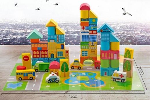 """Эко-набор деревянный пазл-коврик-дорога плюс дома и машины """"The urban traffic blocks""""  """"Город из кубиков"""" 62 детали - 3"""