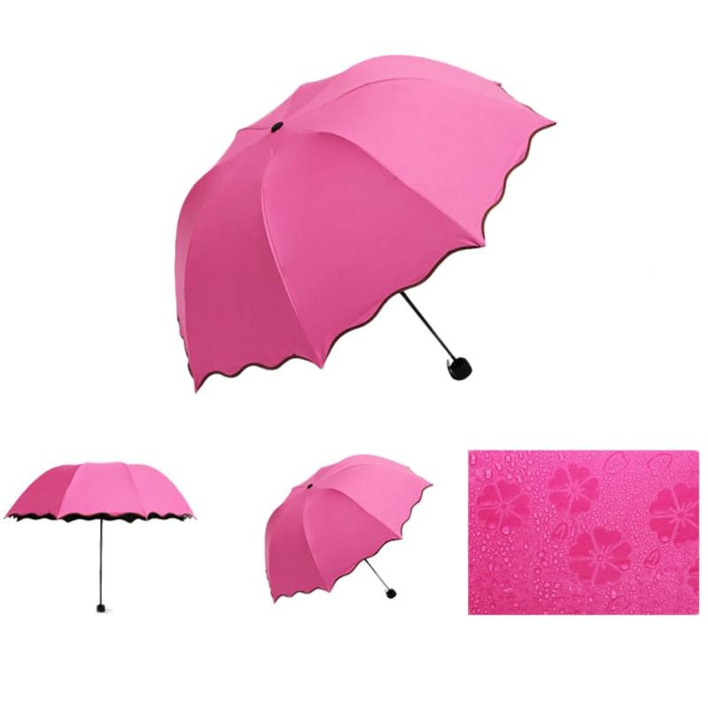 Складной зонт с волнистым краем и проявляющимися от дождя цветами - 5