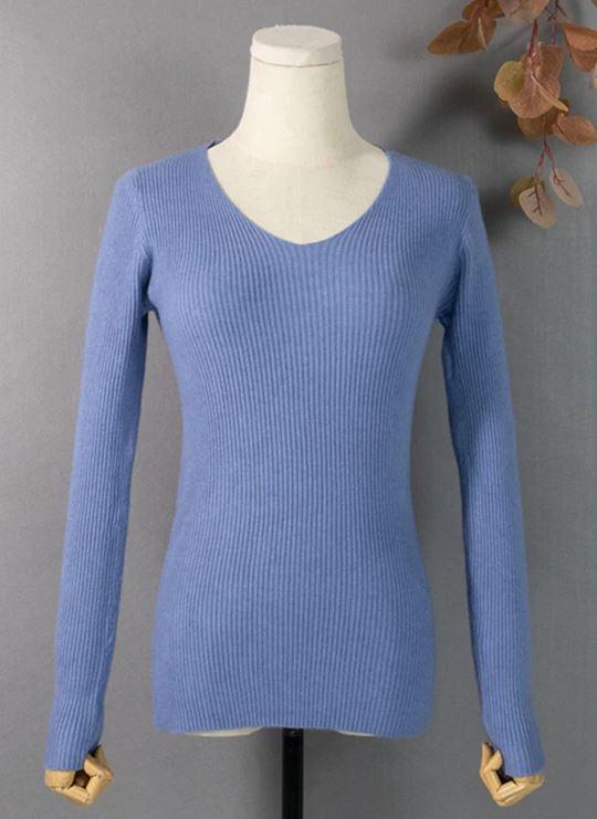 Женский трикотажный пуловер в рубчик (в наличии розовый, черный) - 3