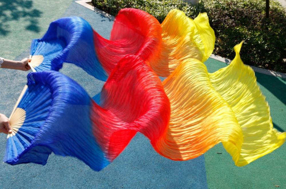 Веера-вейлы натуральные шелковые для восточных танцев (пара= 2штуки) - 4