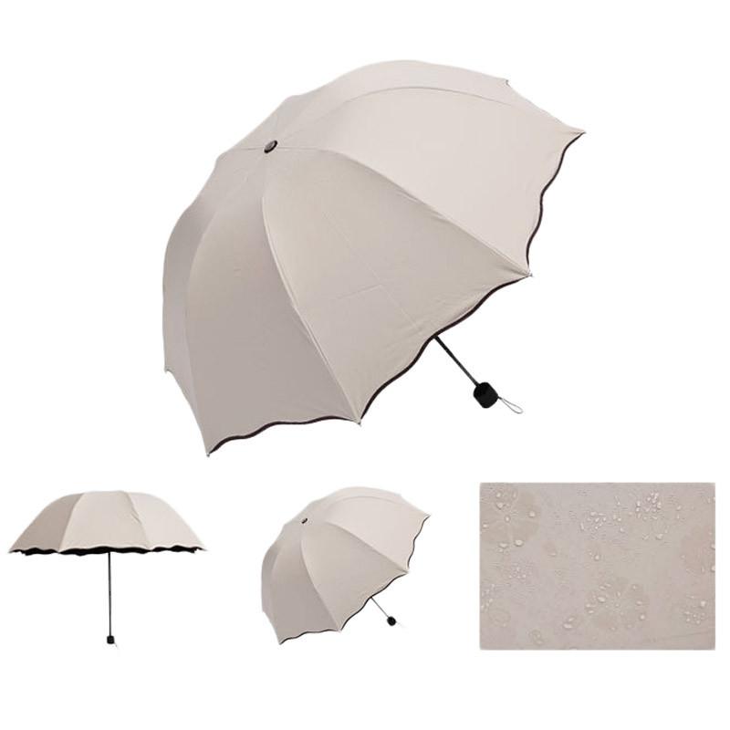 Складной зонт с волнистым краем и проявляющимися от дождя цветами - 4