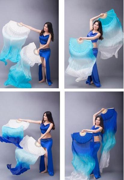 Веера-вейлы для восточных танцев искусственный шелк (пара= 2штуки) - 2