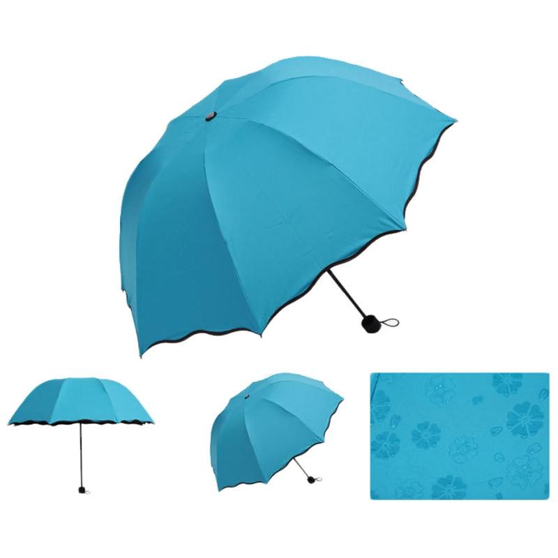 Складной зонт с волнистым краем и проявляющимися от дождя цветами - 6
