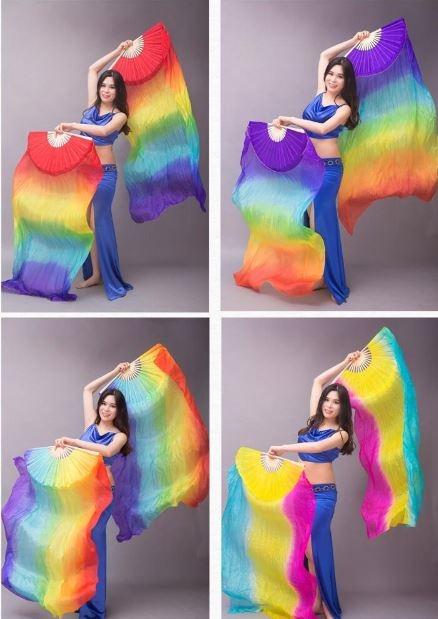 Веера-вейлы для восточных танцев искусственный шелк (пара= 2штуки) - 4