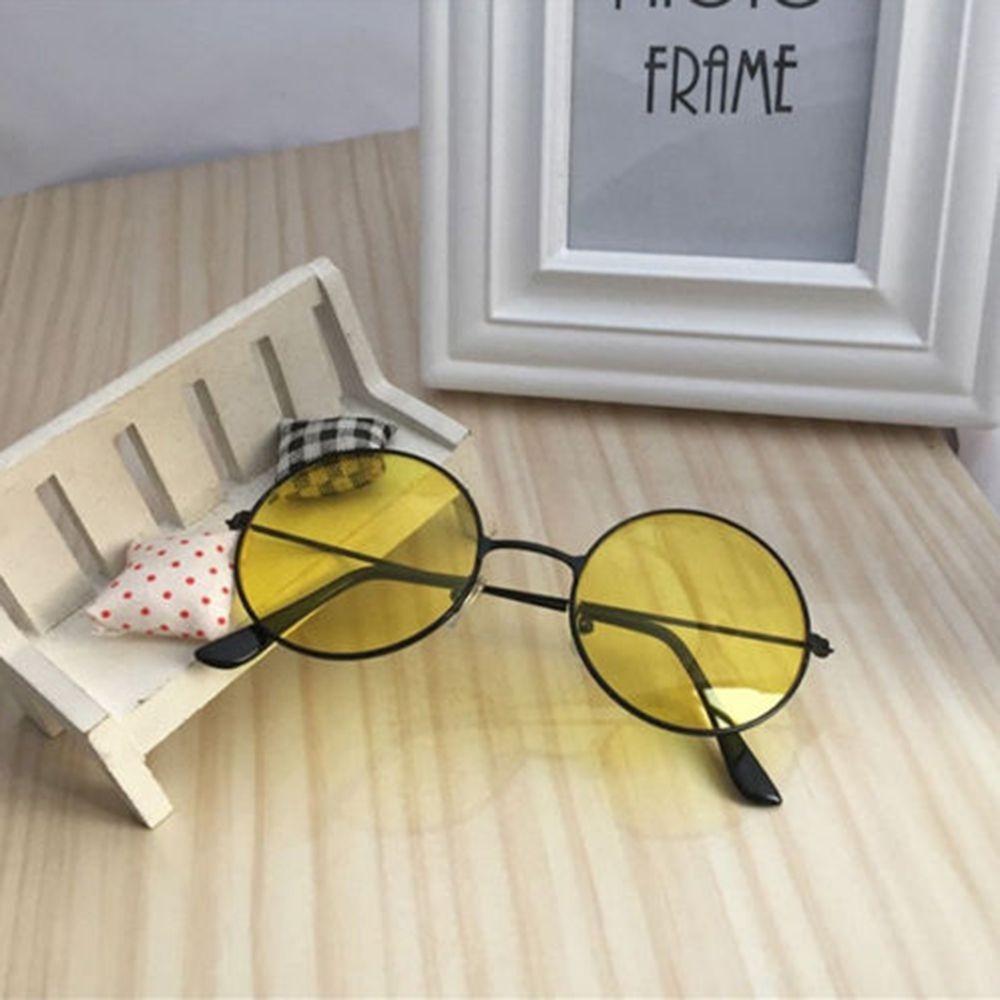Круглые очки от солнца с металлической оправой и цветной выпуклой линзой - 2