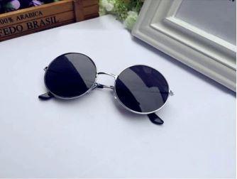 Круглые очки от солнца с металлической оправой и цветной выпуклой линзой - 3