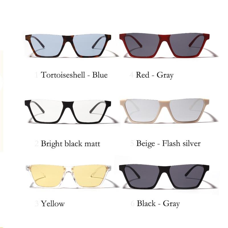 Полуободковые прямоугольные солнцезащитные очки с цветной дымчатой линзой (в наличии бежевые и черные с густо серой линзой) - 6