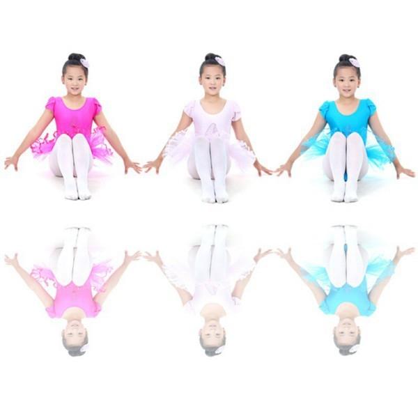 Детский купальник на короткий рукав с балетной юбкой для танцев и гимнастики - 2