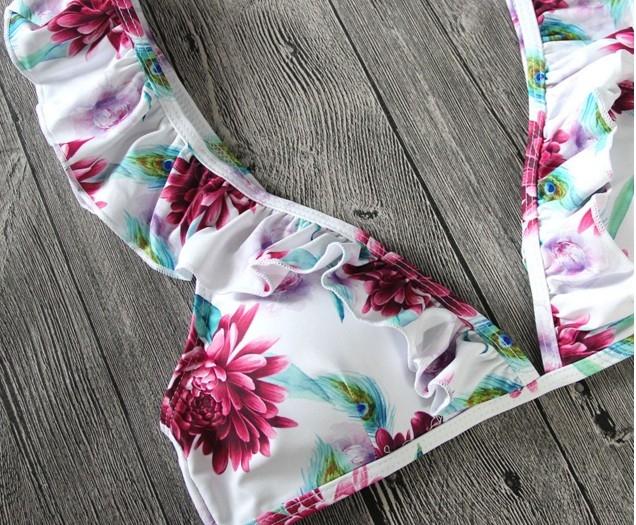 Цветочный раздельный купальник с крылышками на лифе и плавках - 7
