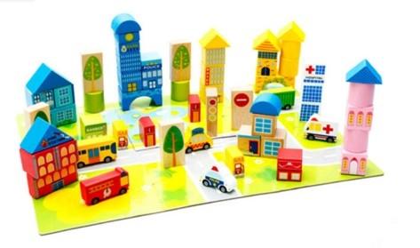 """Эко-набор деревянный пазл-коврик-дорога плюс дома и машины """"The urban traffic blocks""""  """"Город из кубиков"""" 62 детали - 1"""