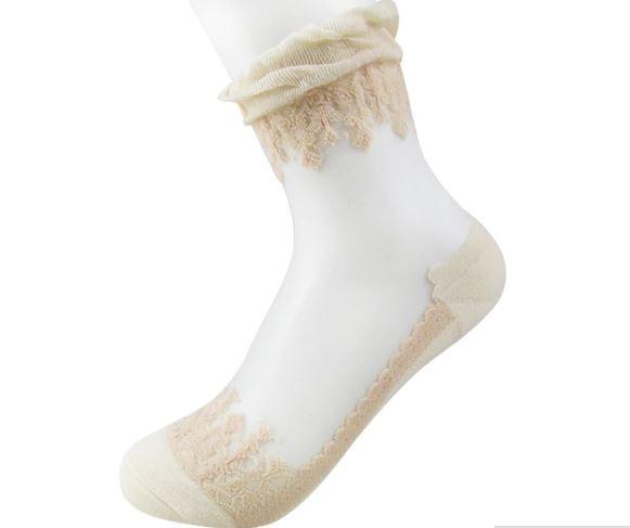 Носки романтичные с оборкой и шелковой вставкой (в наличии черные высокие) - 7