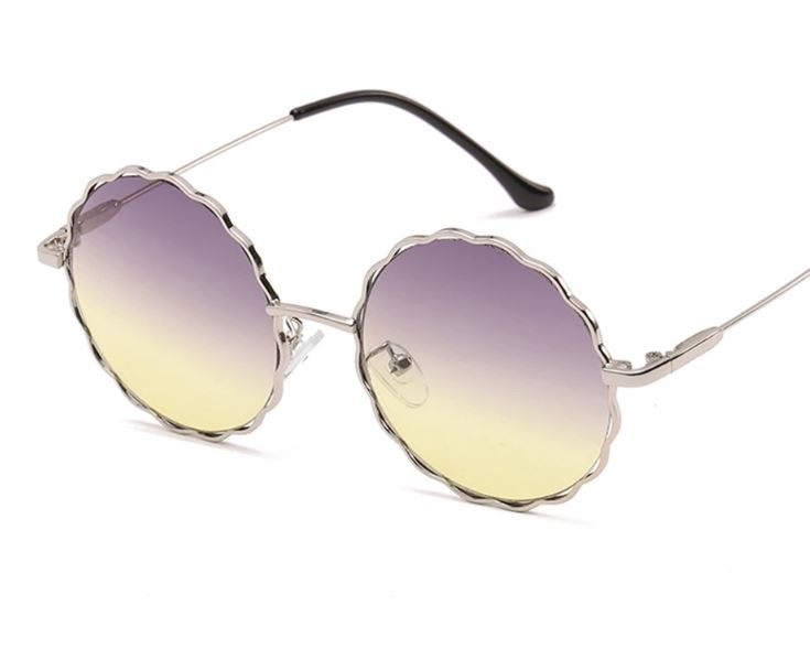 Круглые очки от солнца с волнистой металлической оправой и цветной линзой (коричневые и черные в золоте) - 1