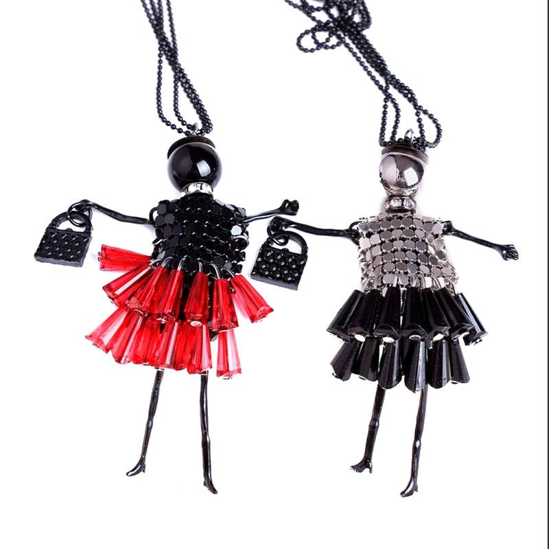 Подвеска кукла с сумочкой на длинной цепочке (в наличии черно-розовая) - 3
