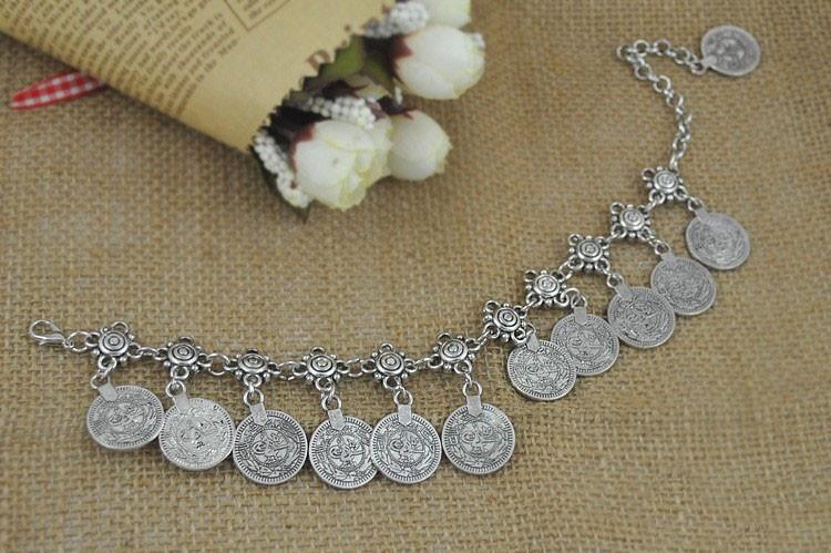 Ножной браслет  в восточном стиле с монетками (в наличии серебряный) - 2
