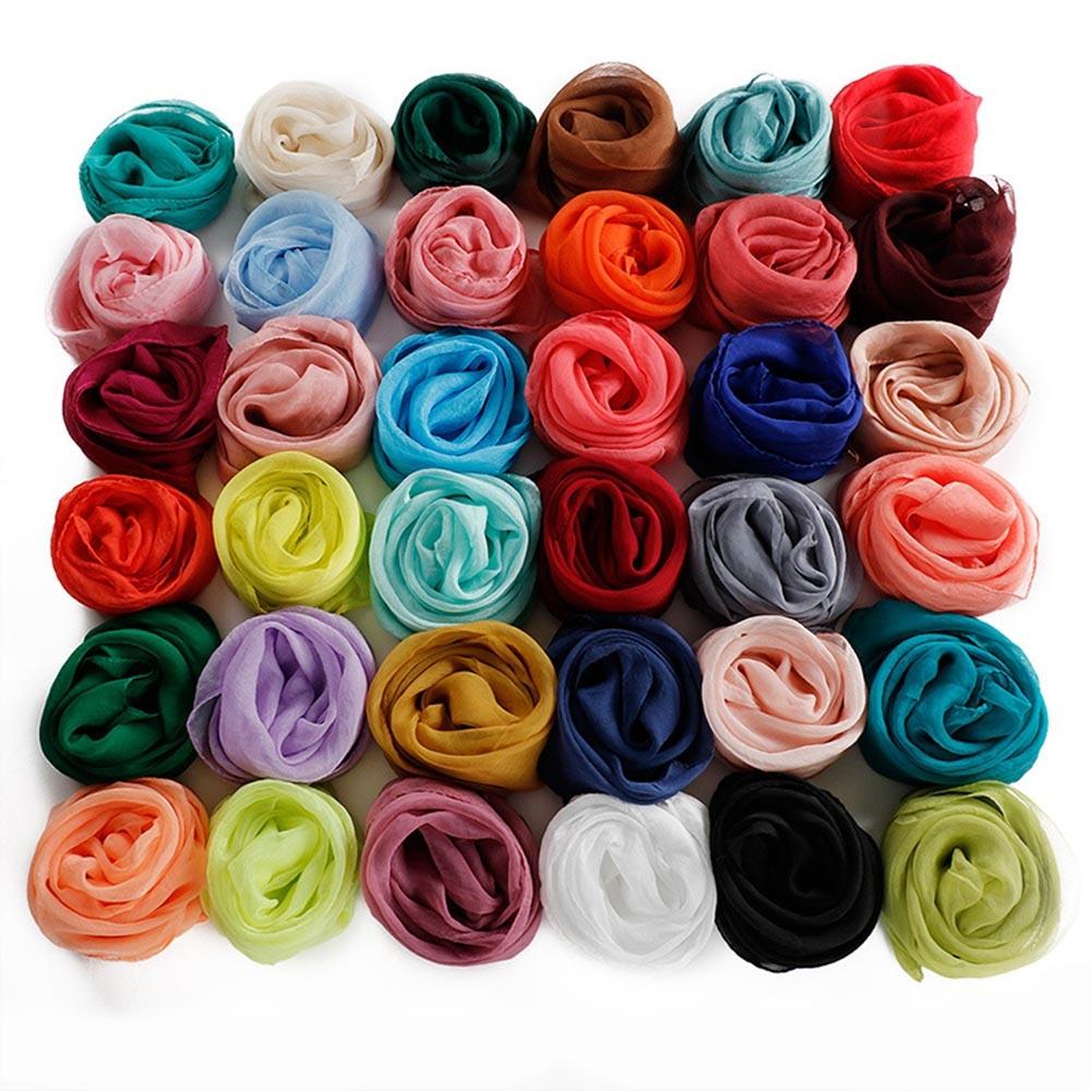 Вискозный однотонный шейный платок (в наличии серый, бордовый, темно зеленый) - 4