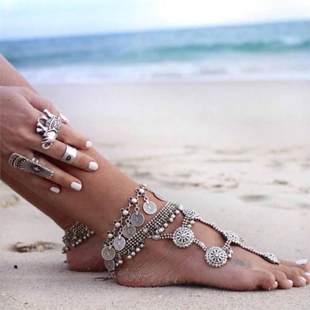 Ножной браслет  в восточном стиле с монетками (в наличии серебряный) - 5