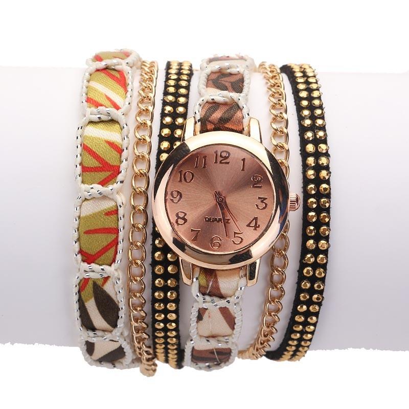 Часы-браслет женские наручные с лентой и цепочкой (в наличии черные) - 6