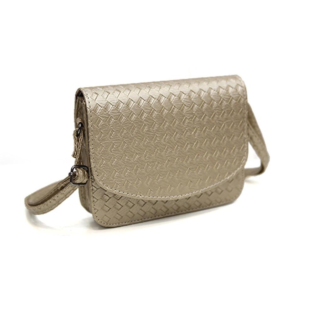 Плетеная женская сумка-почтальон с металлическим оттенком - 4