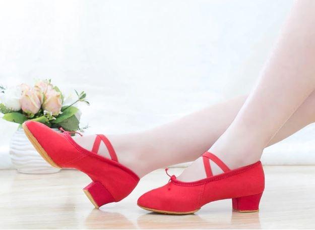 Танцевальные балетки-чешки на каблуке с утяжкой хлопковые + вставка кожа - 4