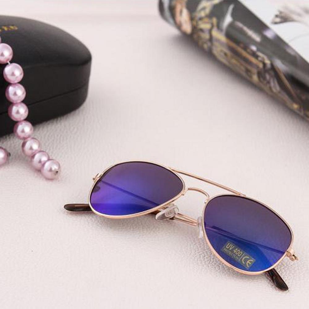 Солнцезащитные детские очки-авиаторы с металлической тонкой оправой и зеркальной или черной линзой (в наличии золотые, серебряные  зеркальные очки) - 2