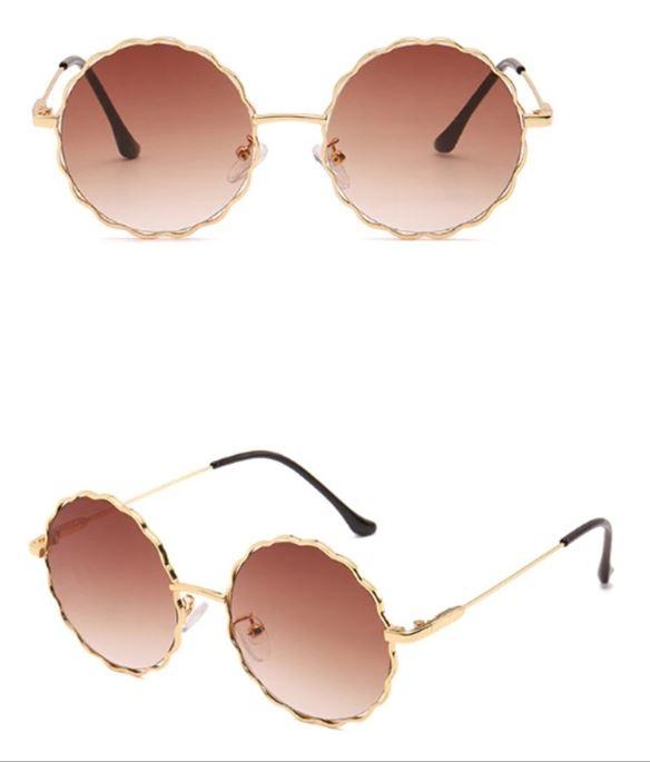 Круглые очки от солнца с волнистой металлической оправой и цветной линзой (коричневые и черные в золоте) - 7