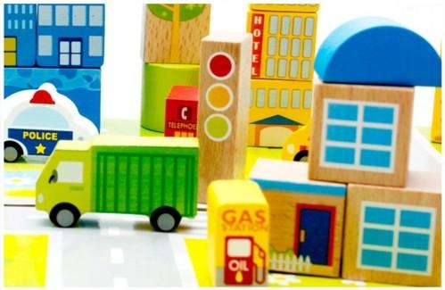 """Эко-набор деревянный пазл-коврик-дорога плюс дома и машины """"The urban traffic blocks""""  """"Город из кубиков"""" 62 детали - 4"""