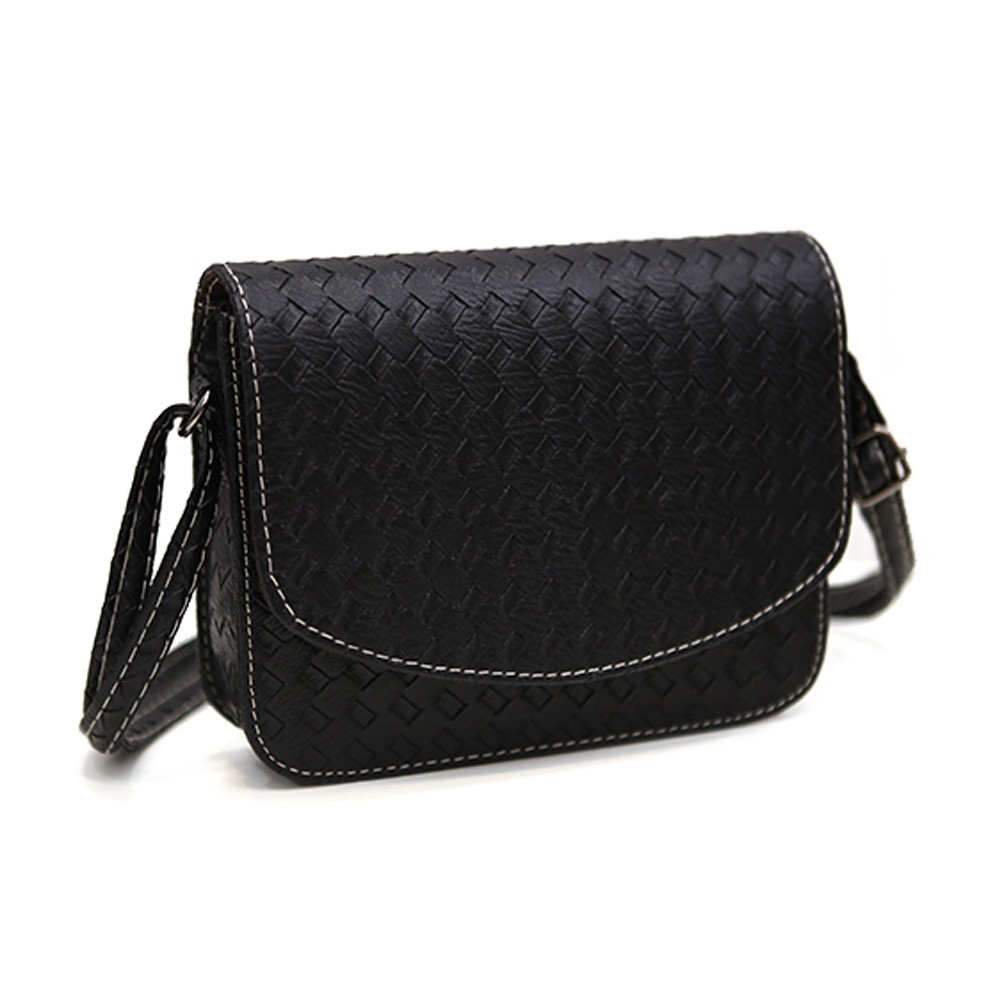 Плетеная женская сумка-почтальон с металлическим оттенком - 2