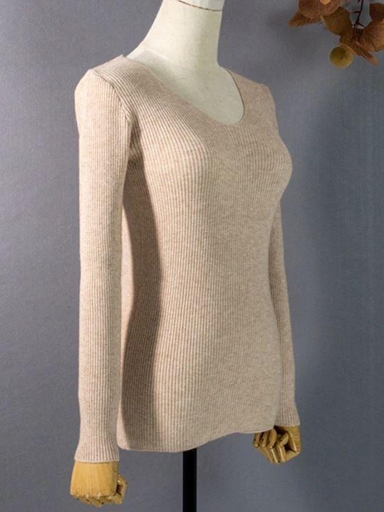 Женский трикотажный пуловер в рубчик (в наличии розовый, черный) - 4