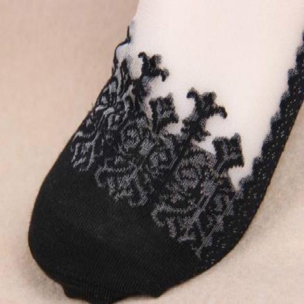 Носки романтичные с оборкой и шелковой вставкой (в наличии черные высокие) - 3