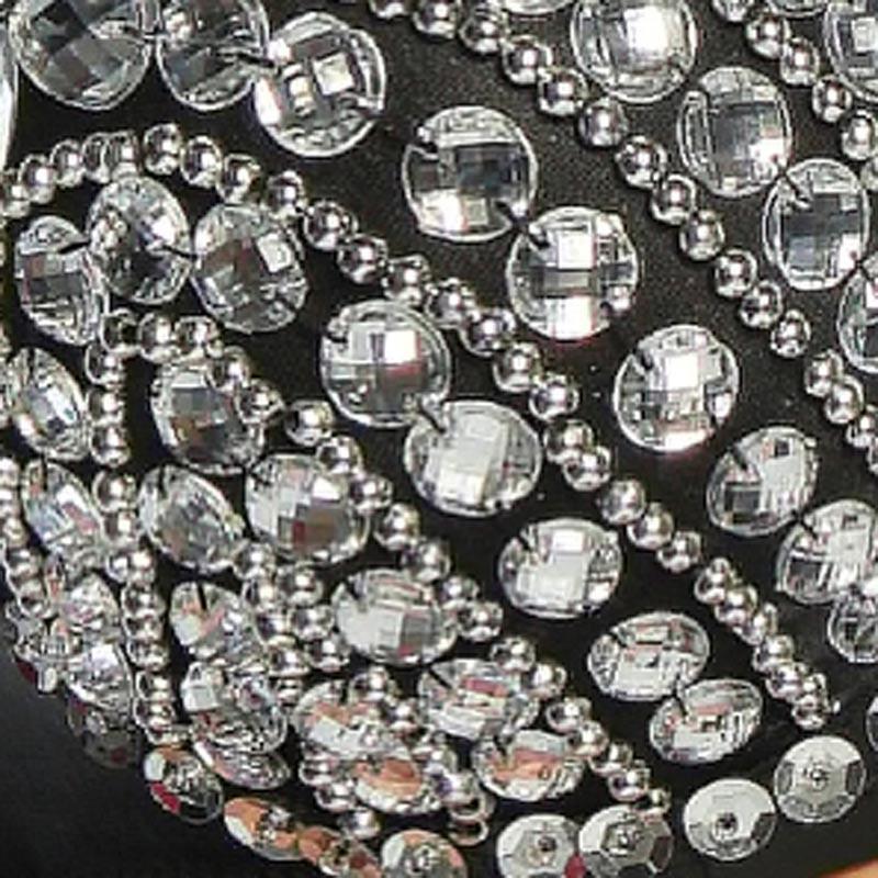 Блестящий бюстгальтер расшитый круглыми кристаллами - 3